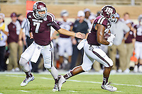 Texas A&M quarterback Kenny Hill (7) handoff to running back James White (20) during first half of NCAA Football game, Saturday, September 06, 2014 in College Station, Tex. Texas A M leads Lamar 31-3 at the halftime. (Mo Khursheed/TFV Media via AP Images)
