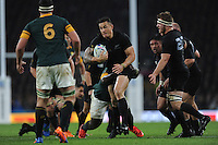 Sonny Bill Williams of New Zealand is tackled by Trevor Nyakane of South Africa during the Semi Final of the Rugby World Cup 2015 between South Africa and New Zealand - 24/10/2015 - Twickenham Stadium, London<br /> Mandatory Credit: Rob Munro/Stewart Communications