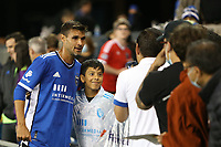 SAN JOSE, CA - AUGUST 17: Chris Wondolowski #8 of the San Jose Earthquakes with fans before a game between Minnesota United FC and San Jose Earthquakes at PayPal Park on August 17, 2021 in San Jose, California.