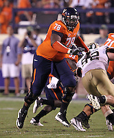 Sept. 3, 2011 - Charlottesville, Virginia - USA; Virginia Cavaliers offensive tackle Morgan Moses (78) defends during an NCAA football game against William & Mary at Scott Stadium. Virginia won 40-3. (Credit Image: © Andrew Shurtleff