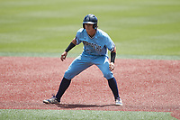 Carter Trice (4) of the Old Dominion Monarchs takes his lead off of first base against the Charlotte 49ers at Hayes Stadium on April 25, 2021 in Charlotte, North Carolina. (Brian Westerholt/Four Seam Images)