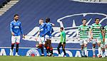 02.05.2021 Rangers v Celtic: Rangers celebrate as Callum McGregor is sent off