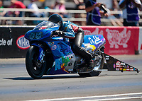 Sep 5, 2020; Clermont, Indiana, United States; NHRA pro stock motorcycle rider Michael Phillips during qualifying for the US Nationals at Lucas Oil Raceway. Mandatory Credit: Mark J. Rebilas-USA TODAY Sports