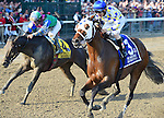 Moreno (no. 3), ridden by Junior Alvarado and trained by Eric Guillot, wins the the 87th running of the grade 1 Whitney Stakes for three year olds and upward on August 2, 2014 at Saratoga Race Course in Saratoga Springs, New York.  (Bob Mayberger/Eclipse Sportswire)