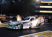 Jun. 1, 2012; Englishtown, NJ, USA: NHRA funny car driver Mike Neff during qualifying for the Supernationals at Raceway Park. Mandatory Credit: Mark J. Rebilas-