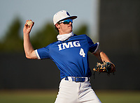 IMG Academy Ascenders Jimmy Koza (4) throws to first base during a game against the Montverde Academy Eagles on April 8, 2021 at IMG Academy in Bradenton, Florida.  (Mike Janes/Four Seam Images)