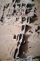 World Civilization:  Kush--Great enclosure in Northern Sudan. Colonnaded central temple estimated to be 1st C. A. D.  The purpose of it all is unknown.