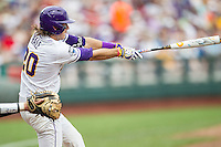 LSU Tigers third baseman Conner Hale (20) swings the bat against the TCU Horned Frogs in the NCAA College World Series on June 14, 2015 at TD Ameritrade Park in Omaha, Nebraska. TCU defeated LSU 10-3. (Andrew Woolley/Four Seam Images)