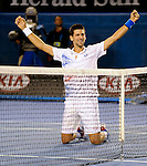 Novak Djokovic reaches the Australian Open Final in Melbourne Australia on January 27, 2012