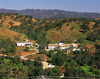 Farming township tucked away in a valley in the hills behind Faro, Algarve, Portugal; in a rolling green landscape with distant higher hills