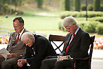 Thursday, May 31, Charlotte, North Carolina. Dedication ceremony for the new Billy Graham Library in Charlotte, North Carolina.. Former US presidents George Bush, Jimmy Carter and Bill Clinton in prayer.