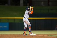 Scottsdale Scorpions center fielder Ronnie Dawson (4), of the Houston Astros organization, celebrates after hitting a double during an Arizona Fall League game against the Mesa Solar Sox at Sloan Park on October 10, 2018 in Mesa, Arizona. Scottsdale defeated Mesa 10-3. (Zachary Lucy/Four Seam Images)