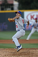 Daniel Martinez (12) of the Stockton Ports pitches against the Rancho Cucamonga Quakes at LoanMart Field on May 26, 2021 in Rancho Cucamonga, California. (Larry Goren/Four Seam Images)
