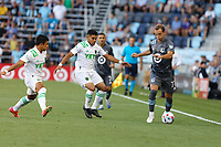 SAINT PAUL, MN - JUNE 23: Chase Gasper #77 of Minnesota United FC with the ball during a game between Austin FC and Minnesota United FC at Allianz Field on June 23, 2021 in Saint Paul, Minnesota.
