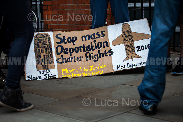 London, 06/09/2016. Today, protesters gathered outside the Jamaican High Commission in South Kensington to hold a demonstration against the planned deportation charter flight due to take off on the 7th September.From the organiser Facebook event page: <<This Wednesday 7th September at 6:30am, there Home Office have scheduled a charter flight to fly from London to Jamaica. This will be the first known charter flight to Jamaica from the UK since 6th November 2014. The Unity Centre have been in contact with over 50 people currently detained across the UK's immigration detention estate, set to be forcibly removed on Wednesday. […] Everyone that we have spoken to came to the UK as a child. They have British family here and are British all but by name themselves. We have spoken to two men who are full-time carers to their wives. Most men have British children too. Families will be torn apart. The Home Office tell people that they can continue their family relationships via phone, email and Skype […]>>.<br /> <br /> For more information please click here: https://www.facebook.com/events/1590851347875114/#