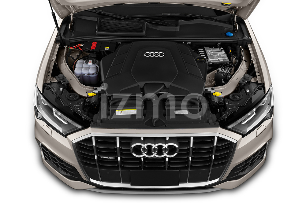 Car Stock 2020 Audi Q7 Premium 5 Door SUV Engine  high angle detail view