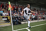 Crusaders 1 Fulham 3, 16/07/2011. Seaview Park, Europa League 2nd qualifying round first leg. Fulham captain Danny Murphy taking a corner in front of Crusaders fans during the first half of a UEFA Europa League 2nd qualifying round, first leg match at Seaview, Belfast. The visitors from England won by 3 goals to 1 before a crowd of 3011. Photo by Colin McPherson.