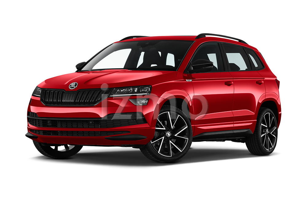 Stock pictures of low aggressive front three quarter view of 2020 Skoda Karoq Sport-Line 5 Door SUV Low Aggressive