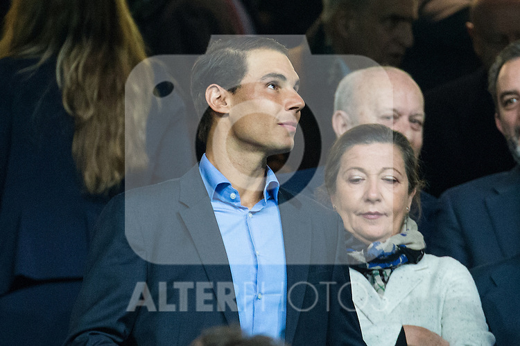 Rafael Nadal at the match of Champions League between Real Madrid and SSC Napoli  at Santiago Bernabeu Stadium in Madrid, Spain. February 15, 2017. (ALTERPHOTOS)