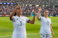 EAST HARTFORD, CT - JULY 5: Karina Rodriguez #3 and Nicole Soto #15 of Mexico salutes the fans after a game between Mexico and USWNT at Rentschler Field on July 5, 2021 in East Hartford, Connecticut.