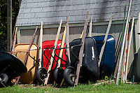 Wheelbarrows lined up for use, Yarmouth Community Garden, Maine, USA
