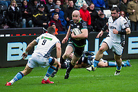 Sunday 26 February 2017<br /> Pictured: Ospreys scrum half Brendon Leonard takes on his opposite number.<br /> RE: Guinness Pro12 Ospreys v Glasgow at the the Liberty Stadium, Swansea, Wales, UK
