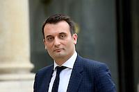Paris (75),Le President de la Republique, Franeois HOLLANDE, recoit samedi 25 juin 2016 les representants des partis politiques francais au Palais de l Elysee. Front National: Florian PHILIPPOT