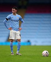 10th January 2021; Etihad Stadium, Manchester, Lancashire, England; English FA Cup Football, Manchester City versus Birmingham City; Phil Foden of Manchester City prepares to take a direct free kick