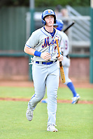Kingsport Mets designated hitter Brett Baty (1) after scoring during a game against the Elizabethton Twins at Joe O'Brien Field on July 6, 2019 in Elizabethton, Tennessee. The Twins defeated the Mets 5-3. (Tony Farlow/Four Seam Images)