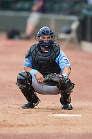 Wilmington Blue Rocks catcher Nick Dini (16) warms up his starting pitcher in the bullpen prior to the game against the Winston-Salem Dash at BB&T Ballpark on June 5, 2016 in Winston-Salem, North Carolina.  The Dash defeated the Blue Rocks 4-0.  (Brian Westerholt/Four Seam Images)