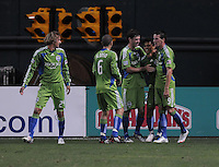 Seattle Sounder FC. forward Fredy Montero (17) celebrates with team mates his goal in the 84th minute of the game.  The Seattle Sounders FC defeated DC United 2-1at RFK Stadium, Saturday September 12 , 2009.