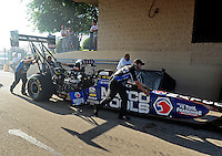 Jul, 8, 2011; Joliet, IL, USA: NHRA top fuel dragster driver Antron Brown during qualifying for the Route 66 Nationals at Route 66 Raceway. Mandatory Credit: Mark J. Rebilas-