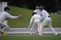 Martin Guptill tries to catch Peter Younghusband behind during day three of the Plunket Shield match between the Wellington Firebirds and Auckland Aces at the Basin Reserve in Wellington, New Zealand on Monday, 16 November 2020. Photo: Dave Lintott / lintottphoto.co.nz