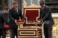 Papal Thrones;Trono Papale;..Pope Benedict XVI celebrates the Holy Thursday Chrismal Mass as part of the Holy week on April 21, 2011 at St Peter's Basilica at the Vatican. Pope Benedict XVI will also celebrate later in the day the Mass of the Lord's supper.
