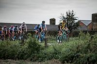 Peloton over the cobbles. <br /> <br /> 103th Kampioenschap van Vlaanderen 2018 (UCI 1.1)<br /> Koolskamp – Koolskamp (186km)