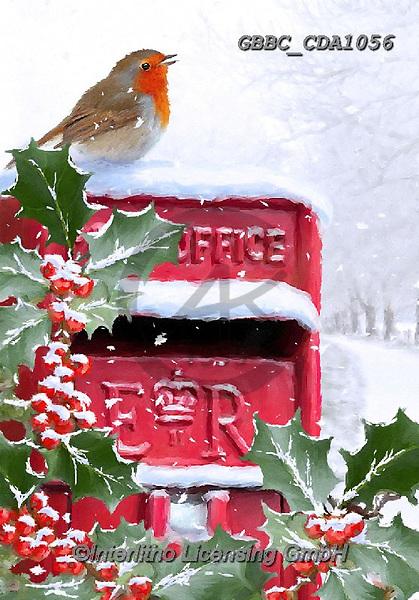 Barry, CHRISTMAS LANDSCAPES, WEIHNACHTEN WINTERLANDSCHAFTEN, NAVIDAD PAISAJES DE INVIERNO, paintings+++++,GBBCCDA1056,#xl# ,red robin