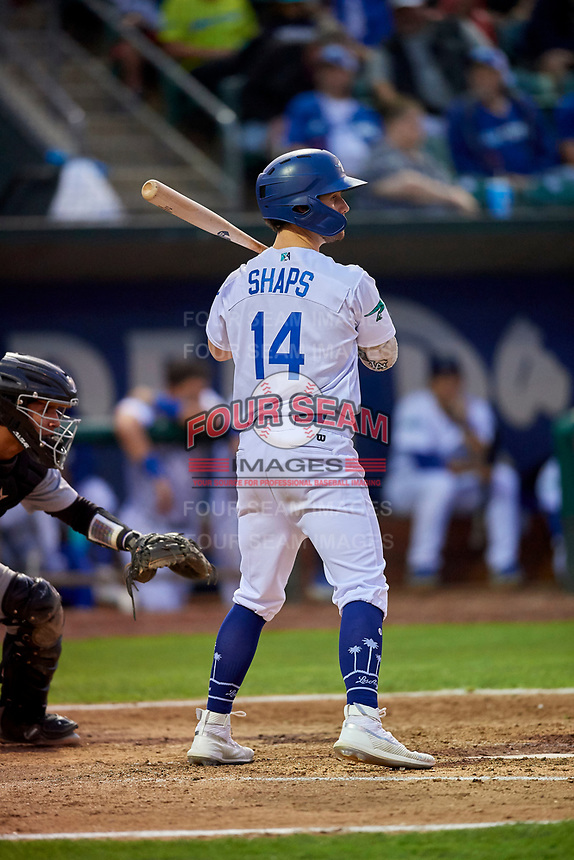 Andrew Shaps (14) of the Ogden Raptors at bat against the Grand Junction Rockies at Lindquist Field on September 9, 2019 in Ogden, Utah. The Raptors defeated the Rockies 6-5. (Stephen Smith/Four Seam Images)