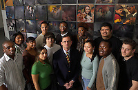 Posse Group photo with president Dan Weiss in Hugel Hall of Science..4089.Posse.Dan Weiss.Hugel Hall.Group