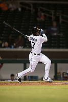 Mesa Solar Sox center fielder Daz Cameron (13), of the Detroit Tigers organization, follows through on his swing during an Arizona Fall League game against the Scottsdale Scorpions at Sloan Park on October 10, 2018 in Mesa, Arizona. Scottsdale defeated Mesa 10-3. (Zachary Lucy/Four Seam Images)