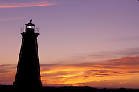 lighthouse, sunset, sunrise, Nova Scotia, Bay of Fundy, NS, Canada, Western Lighthouse at sunset along the coast of the Bay of Fundy on Briar Island on the Atlantic Ocean.