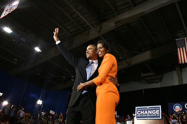 May 6, 2008. Raleigh, NC..Senator Barack Obama, with his wife Michelle,  spoke to a crowd of supporters after winning the North Carolina primary.