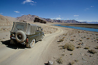 The M41 highway along the Aksu river on the road for hunt the Marco Polo..The M41 Highway from the Ismaili capital of Khorog to the south capital of Kyrgyzstan - Osh, via the head district of Badakhshan - Murgab and the Akbajtal Pass at 4655 meters.