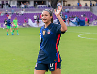ORLANDO, FL - FEBRUARY 21: Sophia Smith #17 of the USWNT waves to the fans after a game between Brazil and USWNT at Exploria Stadium on February 21, 2021 in Orlando, Florida.