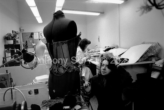 Moscow, Russia  .1998.Russian fashion designer Valentin Yudashikin works with one of his creations in his large production and fashion house on Moscow's Kutuzovki Prospect. Valentin is one of Russias' most successful designers..