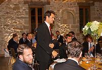 Switserland, Genève, September 16, 2015, Tennis,   Davis Cup, Switserland-Netherlands, location of the official diner, Domaine du Clos Du Chateau,  Roger Federer is being presented<br /> Photo: Tennisimages/Henk Koster
