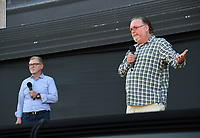 """PASADENA, CA - JUNE 14: Producer Warren Littlefield (L) and series Creator/Producer/Writer Bruce Miller attend HULU's original series """"The Handmaid's Tale"""" FYC Drive-In Screening And Virtual Panel at the Rose Bowl on June 14, 2021 in Pasadena, California. (Photo by Frank Micelotta/HULU/PictureGroup)"""