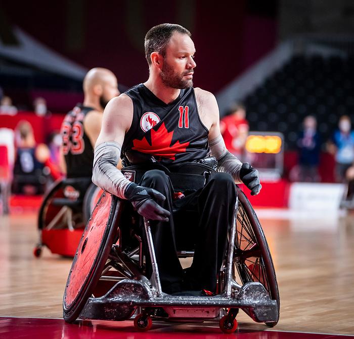 Fabien Lavoie, Tokyo 2020 - Wheelchair Rugby // Rugby en fauteuil roulant.<br /> Canada takes on The USA in the preliminary round // Le Canada affronte Les Etats-Unis d'Amérique au tour préliminaire. 26/08/2021.