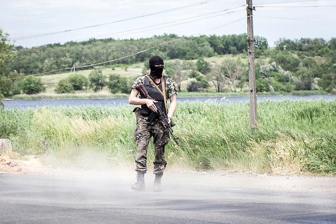 Prorussische Straßensperre in Karlivka, in der Nähe von Donezk,