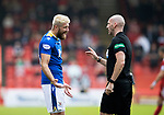 Aberdeen v St Johnstone…18.09.21  Pittodrie    SPFL<br />Shaun Rooney argues withe referee Bobby Madden<br />Picture by Graeme Hart.<br />Copyright Perthshire Picture Agency<br />Tel: 01738 623350  Mobile: 07990 594431