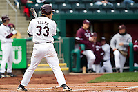 Spiker Helms (33) of the Missouri State Bears waits for a pitch during a game against the Oral Roberts Golden Eagles on March 27, 2011 at Hammons Field in Springfield, Missouri.  Photo By David Welker/Four Seam Images